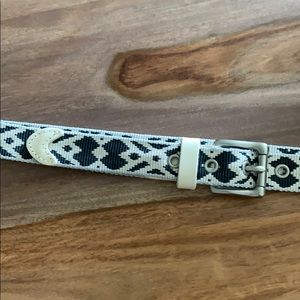 J Crew Woven Blue White Belt Silver Buckle
